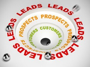 sales process diagram converting leads to prospects and then to customer 3D illustration