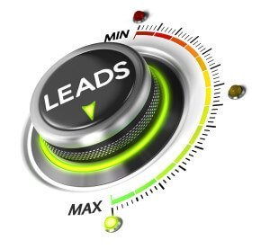 Leads switch button positioned on maximum white background and green light. Conceptual image for leads generation illustration.
