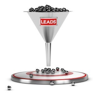 funnel with many metallic spheres and one target over white background. Illustration concept of sales lead nurturing